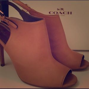 Peep Toe Tan Leather Coach Heels!